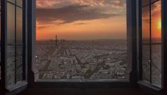 Paris cityscape skyline time lapse from day to night 4k Stock Footage