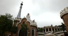 4K video of the Antonio Guadi designed Park Guell in Barcelona, Spain - stock footage