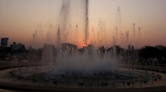 City Fountain at Sunset. Stock Footage