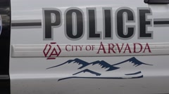 Arvada Colorado Police Car Zoom out Stock Footage