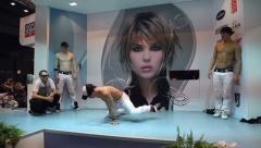 PARIS, FRANCE - NOVEMBER 2010: OMC Hair World Cup 2010. Break dance performance Stock Footage