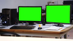 Computer station green screen office - 1080p - stock footage