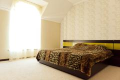 nice apartment refitted, bedroom - stock photo