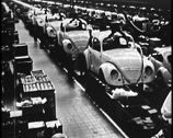 VOLKSWAGON BEATLE CAR FACTORY PRODUCTION Stock Footage