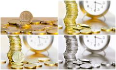 Collage of coins and watches Stock Photos