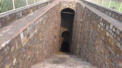 Steps-Well or Bawdi: A water Storage of olden Days in Old Fort Complex, Delhi - stock footage