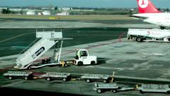 Airport Mobile Boarding Stairs Arriving to the Plane Stock Footage