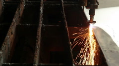 Cutting sheet metal autogenous welding 4 Stock Footage