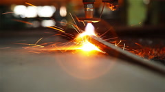 Cutting sheet metal autogenous welding, close-up 2 Stock Footage