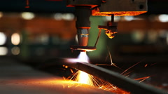 Cutting sheet metal autogenous welding, close-up1 Stock Footage