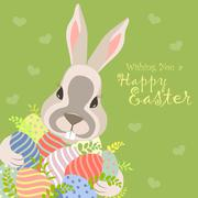 Easter bunny and easter eggs Stock Illustration