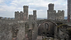 View on Conwy Castle, Wales Stock Footage