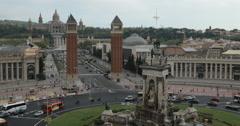 Video of the Plaça d'Espanya and Palau Nacional in Barcelona, Spain Stock Footage