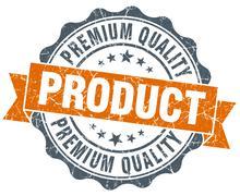 premium quality product vintage orange seal isolated on white - stock illustration