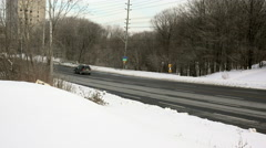 Cement Truck and Winter Traffic Stock Footage