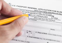 U.S. passport renewal application for eligible individuals Stock Photos