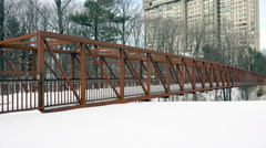 Bridge/Walkway in Winter Stock Footage