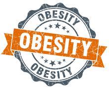 obesity vintage orange seal isolated on white - stock illustration