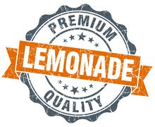 lemonade vintage orange seal isolated on white - stock illustration