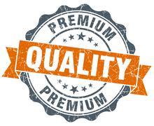 premium quality vintage orange seal isolated on white - stock illustration