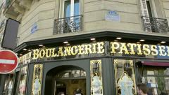 French boulangerie patisserie - bread store Paris, France - stock footage