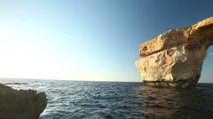 Azure Window, a natural rock formation on Gozo island, Malta Stock Footage