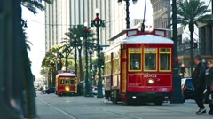 A Street Car in New Orleans Stock Footage