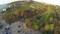 Green spaces and car parking lot at Kucuksu, Istanbul. Aerial. Stock Footage