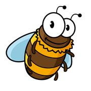 Happy flying cartoon bumble or honey bee - stock illustration