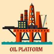 Cartoon vector of a deep sea oil platform - stock illustration