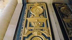 Golden door of L'Hotel national des Invalides - Paris, France Stock Footage