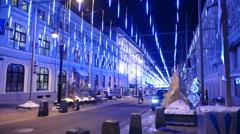 Night Moscow - Christmas lights Stock Footage
