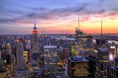 New York City Midtown with Empire State Building at Dusk Stock Photos