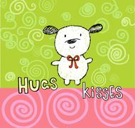 Hugs and kisses greeting card with cute puppy Stock Illustration