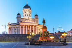 Evening Senate Square, Helsinki, Finland Stock Photos