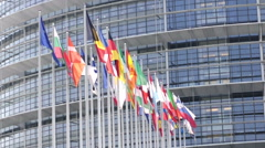 EU Parliament building in 2010 Stock Footage