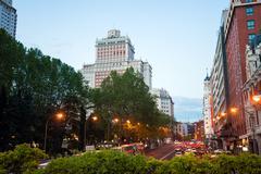 Night city view traffic with Edificio Espana on background in Madrid Stock Photos