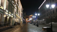 Evening winter alley in Moscow in 2015 Stock Footage