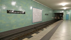 BERLIN, GERMANY: Yellow U-bahn train coming into station in Berlin. Stock Footage