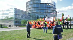 Protesters in Strasbourg, European Parliament Stock Footage