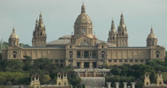 video of the Palau Nacional and museum of national art in Barcelona, Spain - stock footage