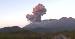Amazing Volcanic Eruption Explosion In Dawn Light - stock footage
