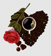 coffee heart and rose - stock illustration