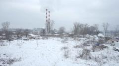 Aerial view of big heating plant in Belgrade. Stock Footage
