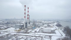 Aerial view of big heating plant in Belgrade. Stock Footage