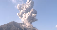 Huge Volcanic Ash Cloud During Large Explosive Eruption Sakurajima Volcano Stock Footage