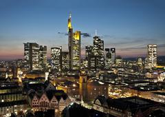 Skyline of Frankfurt at night - stock photo