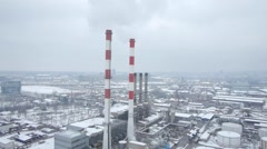Aerial view of big heating plant in Belgrade. - stock footage