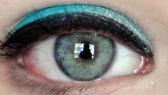woman open eye - stock footage