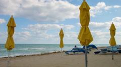 Beach umbrellas in ocean scene, Fort Lauderdale Florida Stock Footage